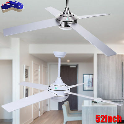 AU 52inch White Silver Modern Ceiling Fan with Light and Remote Control Set Home