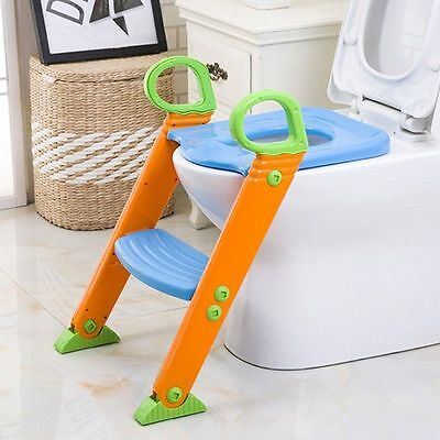 Potty Training Seat with Step Stool Ladder for kids Toddler Toilet Chair Blue MX