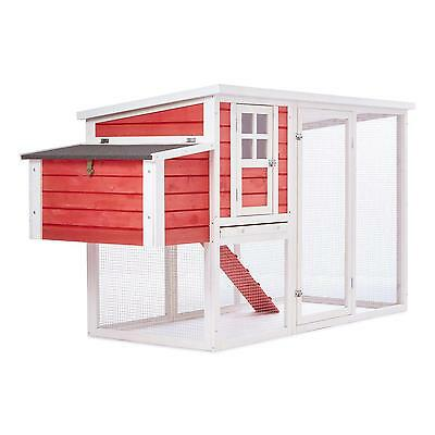 Wood Red Chicken Coop Run House Poultry Home Rabbot Hatch Easy Clean Nesting New