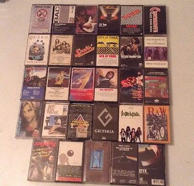 Classic Rock Vintage Music Cassette Tapes Lot (29) Tapes Pink Floyd Queen ZZ Top