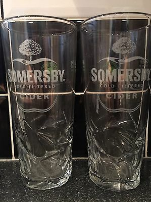 Somersby Cider Pint Glasses (X2)  - New / Nucleated / Ce Stamped