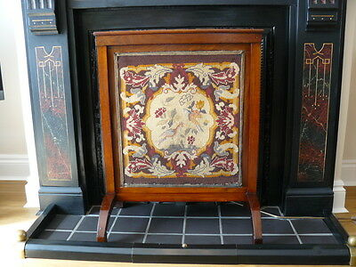 Antique Vintage Large Mahogany Framed Fire Screen Guard with Tapestry Panel