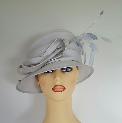 Ladies Formal Hat Wedding Races Mother Bride Pale Grey Blue Whiteley Fully Lined