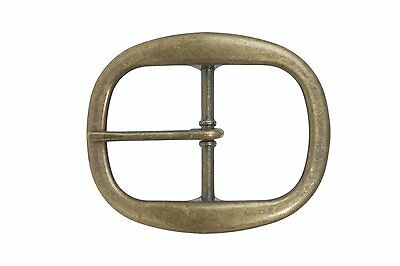 1 1/2 Inch Nickel Free Single Prong Oval Belt Buckle Color: Antique Brass
