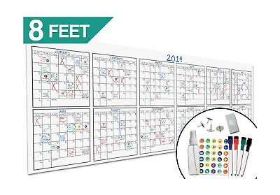 """Large Oversized Yearly Wall Calendar - 36"""" x 96"""" - Dry Erase Blank Reusable A..."""