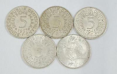 1957-1976 Germany 5 Mark Collection, Deutschemark, Set of 5 Silver Coins, Lot