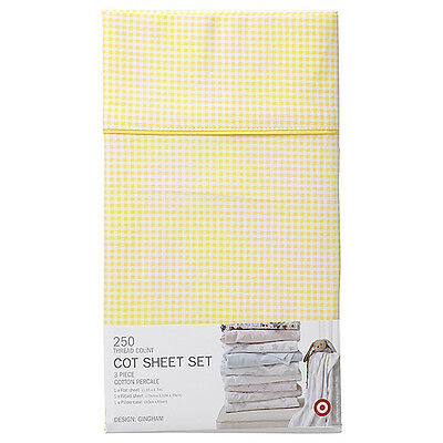 Target Lemon & White Gingham 250 Thread Count Cotton Percale Cot Sheet Set New