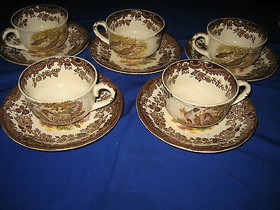 5 x Royal Worcester  Palissy GAME BIRD Series Tea Cups and Saucers