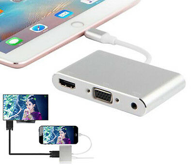 For APPLE 8Pin Lightning to HDMI VGA TV Projector Audio Video AV Cable Adapter
