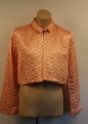 SMALL, PINK SATIN QUILTED, 1950's BED JACKET. ORIGINAL VINTAGE