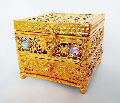Decorative Metal Trunk - Arabian Bakhoor Burner With Drawer (Gold)