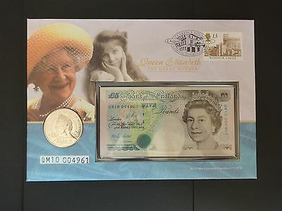 Royal Mint Numismatic COIN Cover 2000 Queen Mother £5 Coin Note Stamp QM10004961