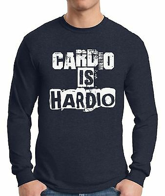 Gym  Long Sleeve T shirt Tops Cardio Is Hardio Men's Workout