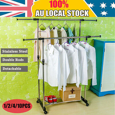 Double Rod Clothes Rack Garment Display Rolling Portable Rail Hanger Dryer Stand