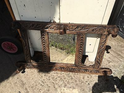 Antique Carved Oak Coat Rack With Bevelled Mirror