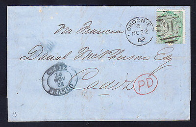 GB QV COVER NO.22.1862 stamp SG72 1/- green - no corner letters cat£425 on cover