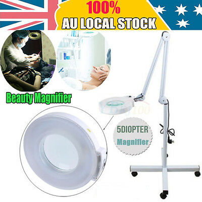 Rolling Magnifying Lamp Glass Lens Round Head LED BEAUTY Magnifier On Stand AU