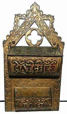 Antique Cast Iron Double Pocket Wall Match Safe Holder Ornate Victorian