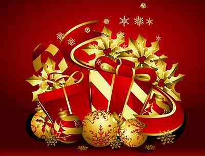Seasonal Red and Gold Christmas Holiday Gifts Ebay Store Front Header