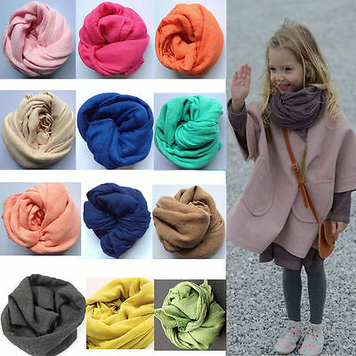 Kids Girls Boy Fashion Soft Cotton Linen Scarf Scarves Solid Color Shawl Wraps
