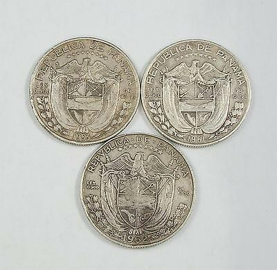 1953, 61, 62 Panama 1/2 Balboa Collection, Set of 3 Silver Coins, Lot