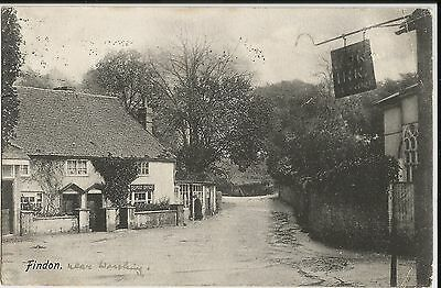 The Post Office, Findon, Sussex, on 1906 L. Mason black and white photo postcard
