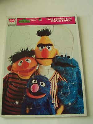 1976 Four Friends From Sesame Street Whitman Frame-Tray Puzzle - Used Condition