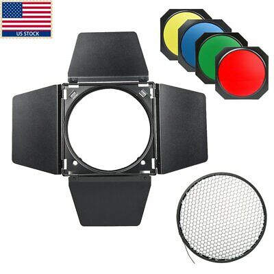 Godox Studio Strobe Barn Door & Honeycomb Grid &4 Color Filter BD-04 Bowen Mount