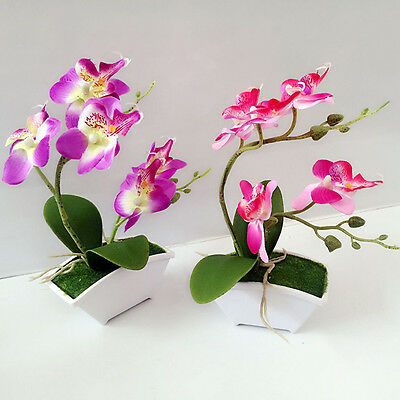 Artificial Butterfly Orchid Flower leaves+ Flowerpot Home Decor Fake Flowers UK