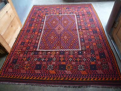 10' x 8' Handmade vintage afghan tribal maimana large antique area kilim rug