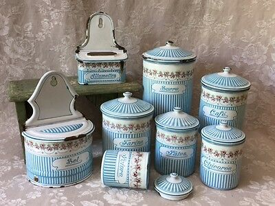Antique FRENCH Enamelware BB ROSE GARLAND CANISTER SET + SALT BOX + MATCH BOX