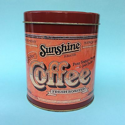 VINTAGE SUNSHINE COFFEE TIN Cannister Kitchen Storage Good Condition 1970s-80s