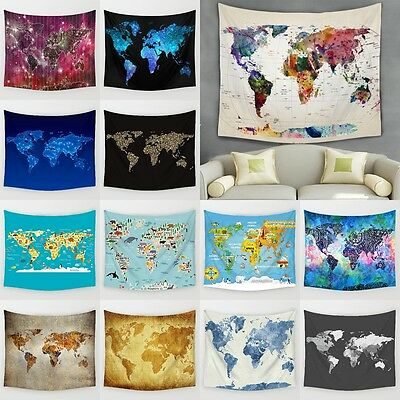 Vintage World Map Wall Tapestries Hanging Hippie Tapestry Bedspread Home Decor