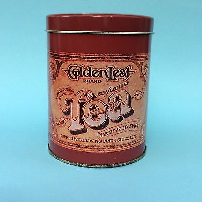 VINTAGE GOLDEN LEAF TEA TIN Cannister Kitchen Storage Good Condition 1970s-80s