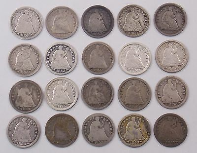 1853 Seated Liberty Silver Half Dime w/ Arrows Lot of 20 Coins (#5167)