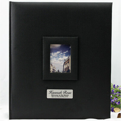 Black Personalised Baby Photo Album - 500 - Add a Name & Message