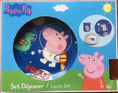 Peppa Pig 3 Piece Childs China Lunch Set Plate Bowl & Cup - Rocket George - BNIB