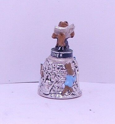 Beatrix Potter Jeremy Fisher silver plated and hand painted Thimble