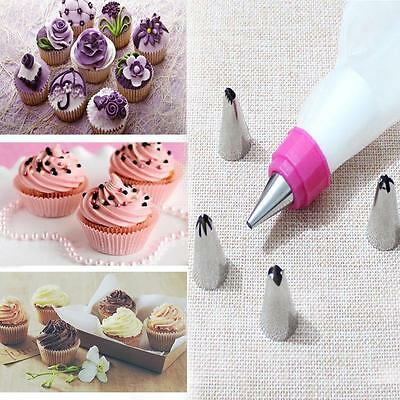 DIY Pastry Cake Decorating Tool Set 5 PCS Nozzles + 1 Pastry Bag +1 Coupler AC