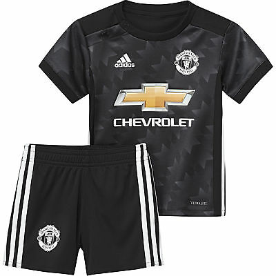 adidas Manchester United 2017/18 Kids Infant Baby Away Football Kit Black