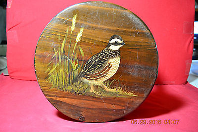 Vintage Folk Art Signed Hand Painted Quail Stool