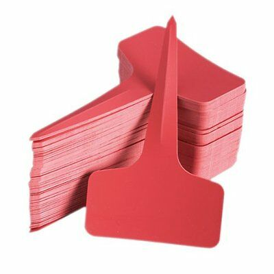 100pcs 6 x10cm Plastic Plant T-type Tags Markers Nursery Garden Labels Red FK