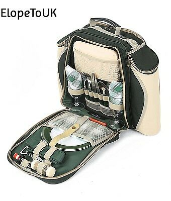 Greenfield Collection Deluxe Forest Green Picnic Backpack Hamper for Two People