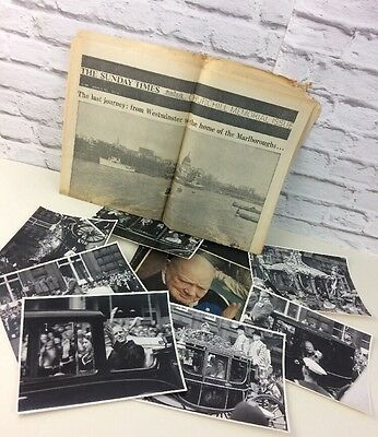 Lot Of Vintage Churchill Ephemera To Include Original Photographs And Newspapers