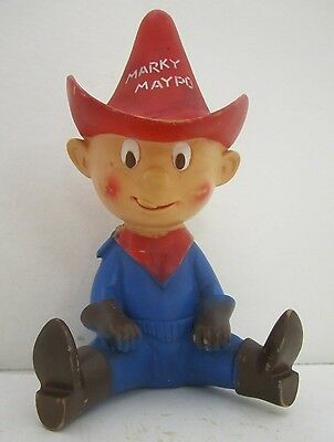 "Vtg 1960s Cereal Vinyl Cowboy Marky Maypo Advertising Figurine Toy 9"" Tall"