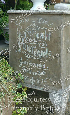 French Chocolate STENCIL A4 CPN Vintage Painted Furniture etc, QUALITY 190 MYLAR