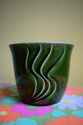Vintage 70s Hornsea Small Retro Green Plant Pot Planter