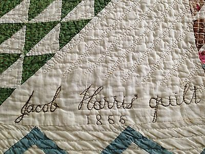 Antique Pennsylvania Quilt Signed and dated 1855