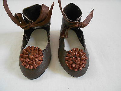 "Black  Leather doll shoes,Handmade, for Antique dolls,3"" Sole"