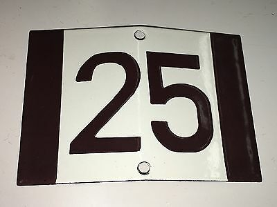 K14 * Rare Porcelain Enameled House Number Sign 25 * Antique German 1930's